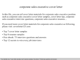 corporate cover letter corporate sales executive cover letter