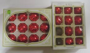 vtg lot red glass christmas ornaments ball shiny brite noelle 2 25