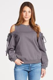 cold shoulder sweaters cold shoulder sweatshirt by lush evereve