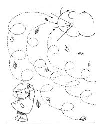 fall windy day line worksheet for kids curly lines tracing