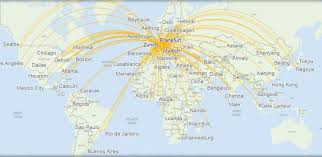 frankfurt on world map inaugural lufthansa flight will open ta to the world