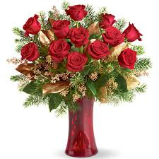 chicago flower delivery christmas dozen roses vase t1152 florist delivery in chicago