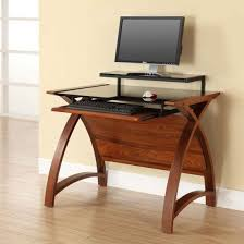 Walnut Computer Desks Cohen Curve Computer Desk Small In Black Glass Top And Walnut