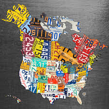 United States On Map by License Plate Map Of North America Canada And The United States On
