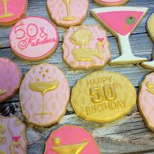 50th birthday cocktail party cookies sugar tree cookies
