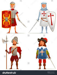 funny cartoon illustrations ancient medieval age stock vector