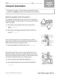 interpret remainders ell 5th 6th grade worksheet lesson planet