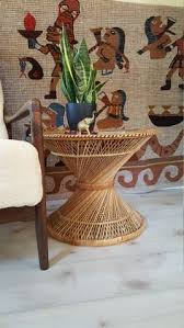 Rattan Accent Table Cane Rattan Side Table Plant Stand Octagon Bamboo Glass Top