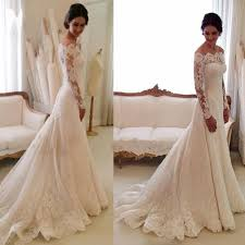 Wedding Dresses Cheap White Off The Shoulder Lace Long Sleeve Bridal Gowns Cheap Simple