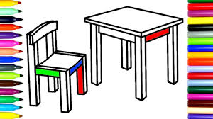 coloring chair and table how to color drawing pages to color for