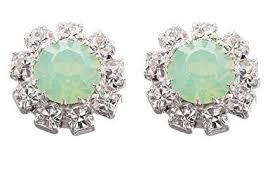 green stud earrings swarovski circle stud earrings in green opal