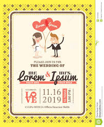 cartoon wedding invitation card template stock vector image