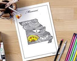 missouri map coloring pages mandala us map etsy