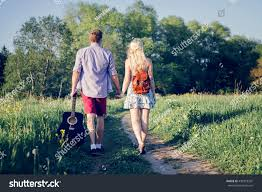 beautiful loving couple going walk outdoors stock photo 432918397