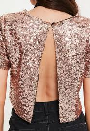 gold open back sequin top missguided
