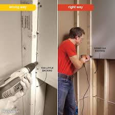 How To Install A Kitchen Cabinet On The Wall by Drywall Installation The Family Handyman
