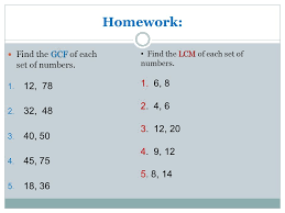 greatest common factor gcf and least common multiple lcm ppt