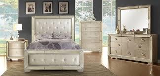 Silver Queen Bed 5 Pc Loraine Silver Finish