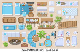 icons set interior top view isolated stock vector 529598149
