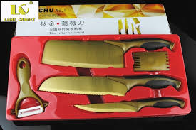 kitchen knives set reviews lc 50 promotion stock 5pcs gold titanium kitchen knife