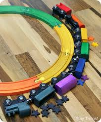 diy rainbow train set play trains