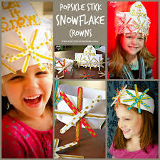 popsicle stick snowflake crown craft craft winter and winter theme