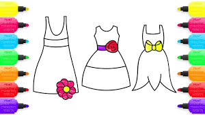coloring pages and drawing beautiful dresses with flowers and bows