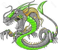 best free green robot cyborg dragon vector illustration art stock