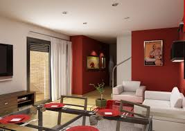 Living Room Dining Room Combo Decorating Ideas White Ceiling Ixed Red Painted Room Wall Combined With White