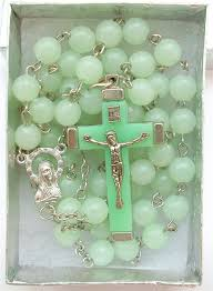 glow in the rosary green glow in rosary necklace cross crucifix