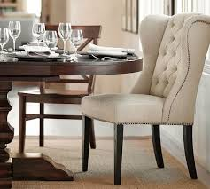 dining room end chairs thayer tufted wingback dining chair pottery barn