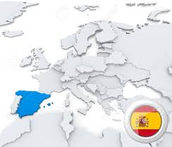 Spain On World Map by Highlighted Spain On Map Of Europe With National Flag Stock Photo