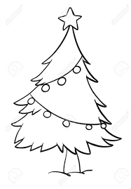 illustration of a christmas tree outline on white background