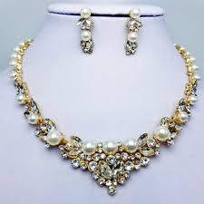 pearl crystal statement necklace images 2018 2018 new fashion pearl jewelry sets women wedding party jpg