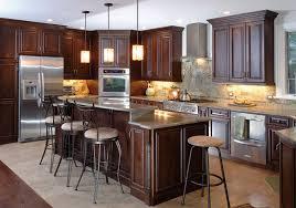 brown varnished cherry wooden kitchen island and kitchen cabinet