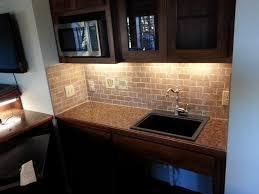Brushed Nickel Backsplash by Tumbled Stone Backsplash Simple Kitchen Ideas With Brown Mosaic