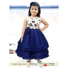 fashionable designer navy blue and white wedding party dress for kids