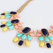 necklace with stone images South of france navy neon stone mix floral bloom statement necklace jpg