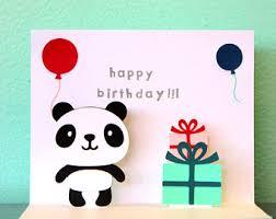 panda greeting card panda birthday card happy birthday