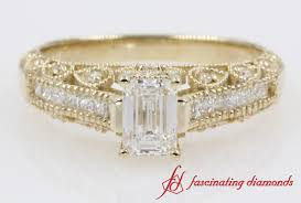 vintage emerald cut engagement rings emerald cut vintage diamond engagement rings in 14k yellow gold