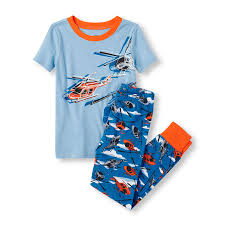 boys sleeve glow in the helicopter pajama set orange