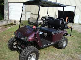 golf cart painted black cherry long travel suspension by all