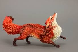 spirit halloween las cruces red fox animal totem figurine sculpture animal fantasy art magic