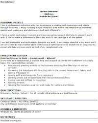 resume exles for receptionist cv for a receptionist pertamini co