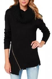 black sweater womens black womens plain pullover zipper high neck sleeves sweater