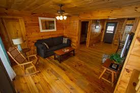 Log Floor by Grey Fox Log Home Cabin Rentals