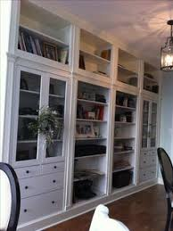 Ikea Bookshelves Built In by Two Ikea Hemnes Cabinets Turned Into A Built In With Base And