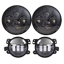 Led Lights For Jeeps Amazon Com Dot Approved 7 U0027 U0027 Black Daymaker Led Headlights 4