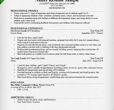 Examples Of Nanny Resumes by Wonderful Inspiration Sample Nanny Resume 4 Writing Guide Cv