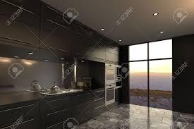 modern luxury kitchens 3d rendering of modern luxury kitchen interior stock photo